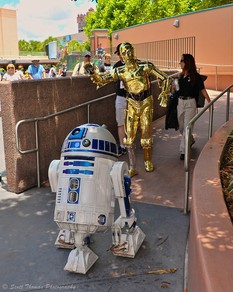 Droids R2-D2 and C-3PO being escorted through Disney's Hollywood Studios during Star Wars Weekend at Walt Disney World, Orlando, Florida.