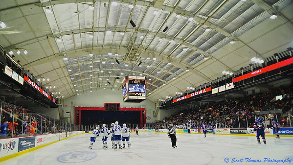 Onondaga County War Memorial lights up after Syracuse Crunch Ondrej Palat (12) scores a goal to tie the game against the Rochester Americans on Saturday, March 2, 2013.