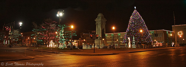 Clinton Square Christmas decorations in Syracuse, New York.