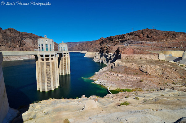 Two of the four Hoover Dam penstock tower inlets on the Arizona side in Lake Mead.