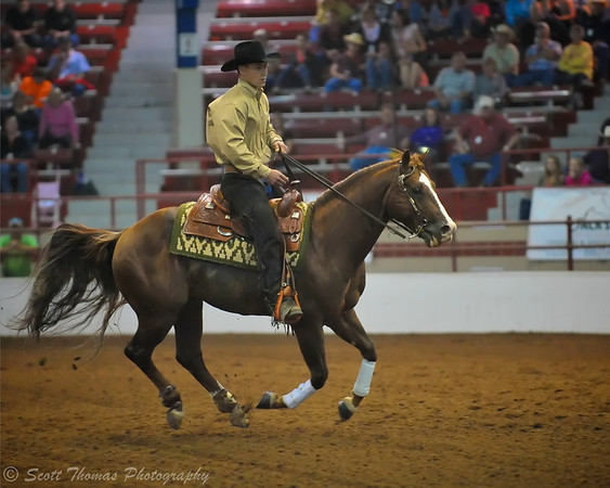 Riding a horse at full gallup in a pattern shows the judges a rider's control.