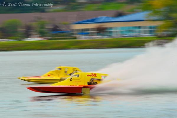 National Modified hydroplanes racing at HydroBowl on Seneca Lake in Geneva, New York.