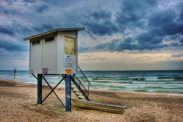 A Lake Ontario beach closed for the season.