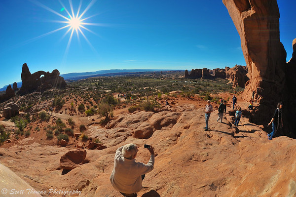 Turret Arch sunburst from North Window Arch in Arches National Park near Moab, Utah.