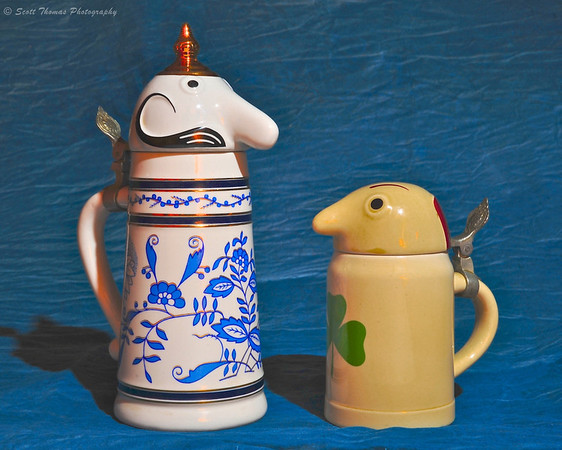 Schultz and Dooley collectible beer steins made for WEBCO by Brazilian stein maker, Ceramarte.