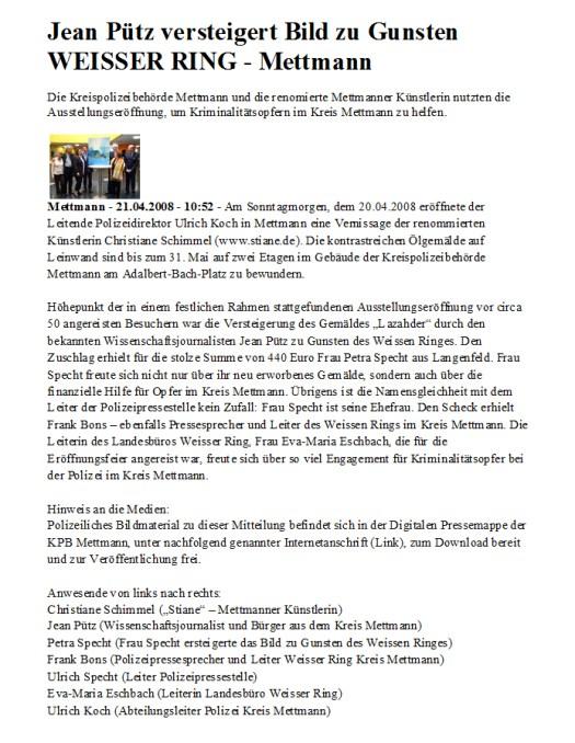 Jean Pütz Versteigert Kunst in der Kreispolizeibehörde Mettmann