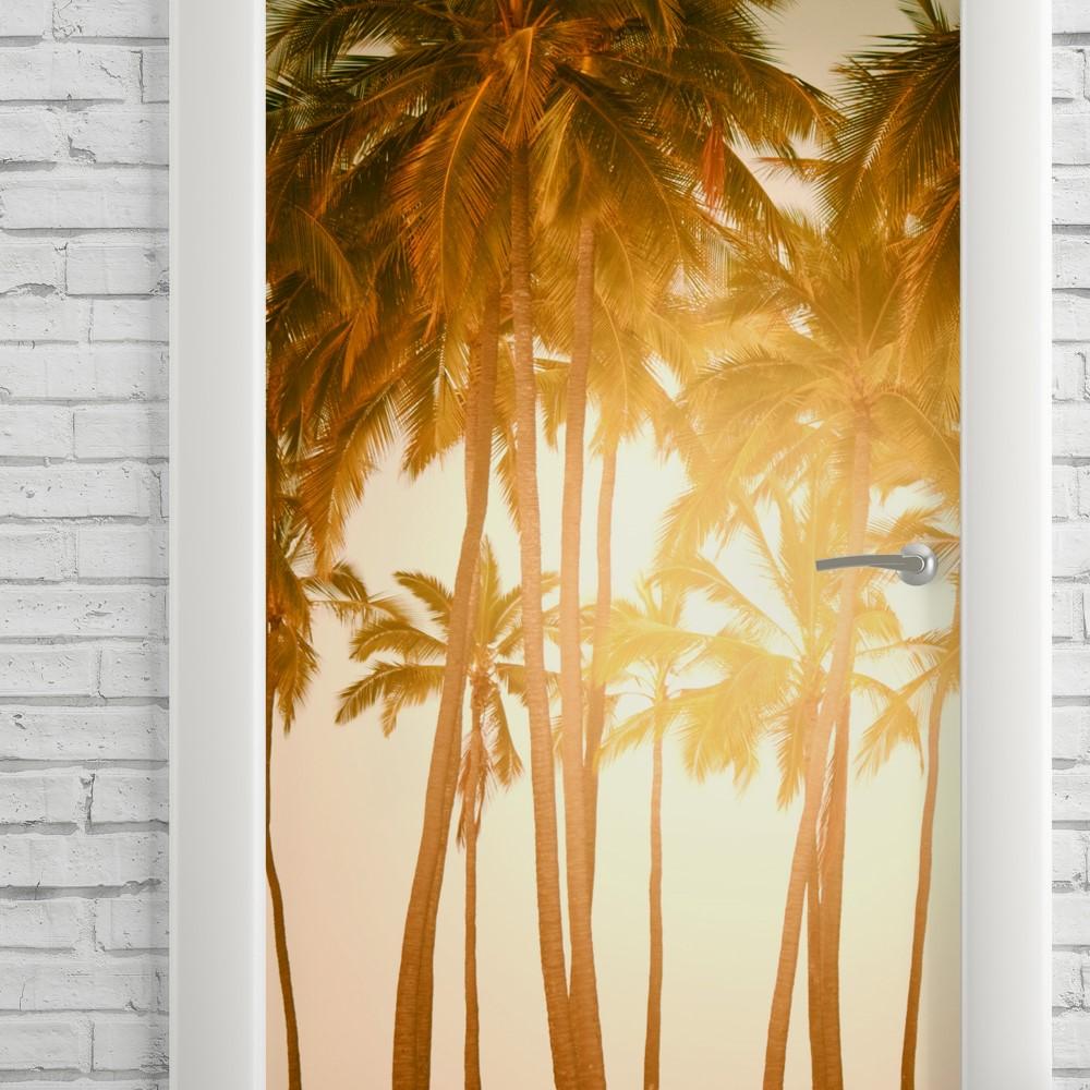 Adesivo de Porta Coqueiros Por do Sol