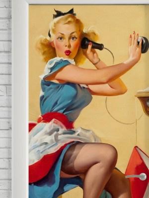 Adesivo de Porta Pin Up Telephone