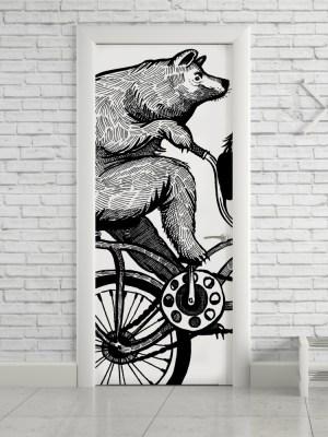 Adesivo de Porta Urso Bicicleta