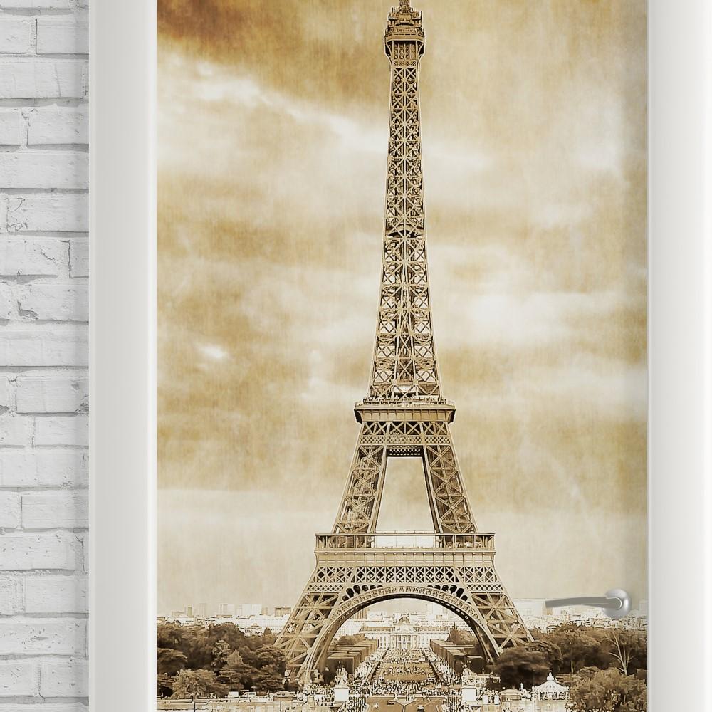 Adesivo de Porta Vintage Paris Torre Eiffel