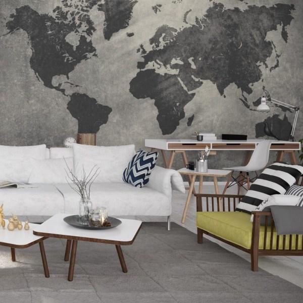 Painel Fotográfico Mapa Mundi Cimento Queimado