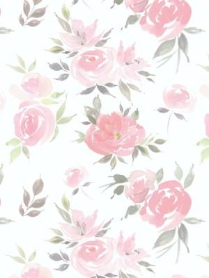 Papel de Parede Adesivo Floral Watercolor