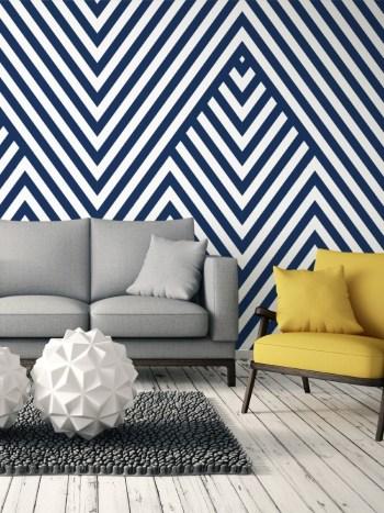 Papel de Parede Geométrico Azul e Branco 007