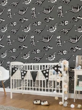 Papel de Parede Adesivo Infantil Dinossauros Preto e Branco