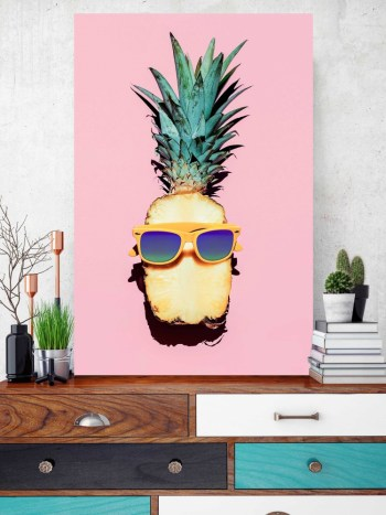 Placa Decorativa Abacaxi Hipster