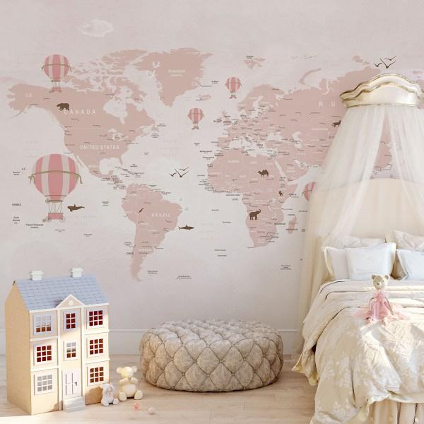 Painel Fotográfico Mapa Mundi Infantil Lúdico Balões Rosa