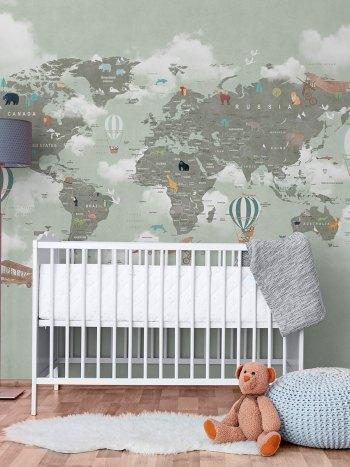 Painel Fotográfico Mapa Mundi Balão Animais