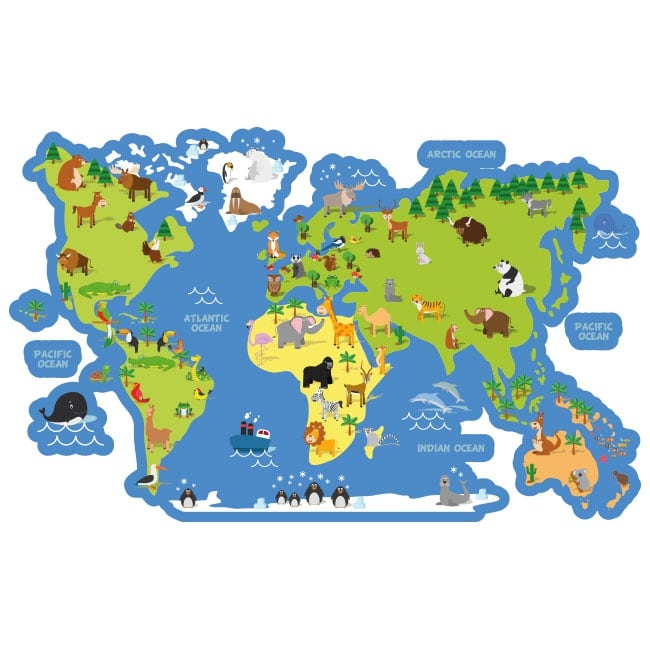 vinyls and children s stickers world map with animals