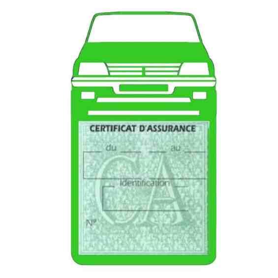 Etui vignette assurance voiture 205 GTI Peugeot vert clair