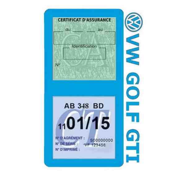 GOLF GTI vignette assurance Volkswagen bleu clair