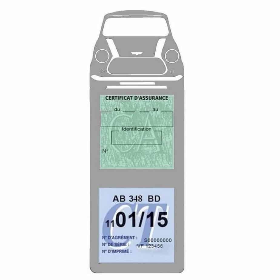 Etui vignette assurance voiture Mini COOPER BMW méga double pochette gris adhésif