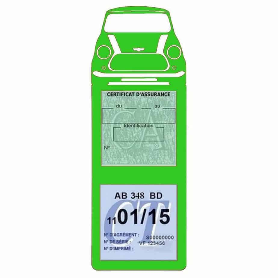 Mini Cooper BMW étui assurance auto méga vert clair