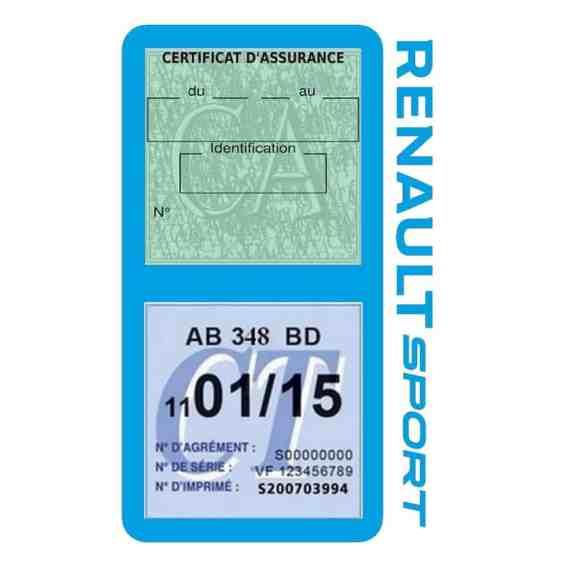 Etui double vignette assurance voiture Renault Sport RS bleu clair