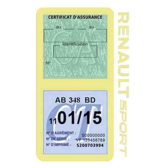 Etui double vignette assurance voiture Renault Sport RS beige