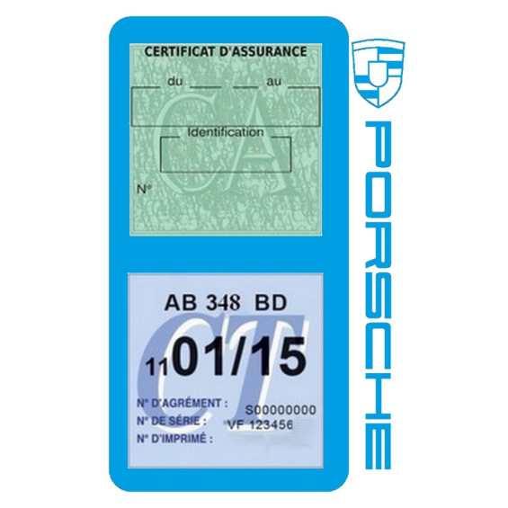 Etui Porsche double vignette assurance bleu clair