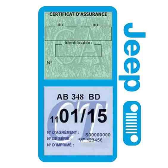 Porte assurance JEEP Calandre bleu clair double étui pochette voiture