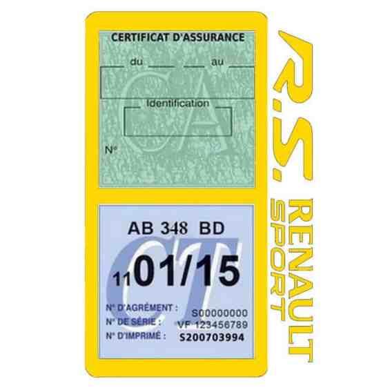 R.S Renault Sport Vignette assurance voiture jaune