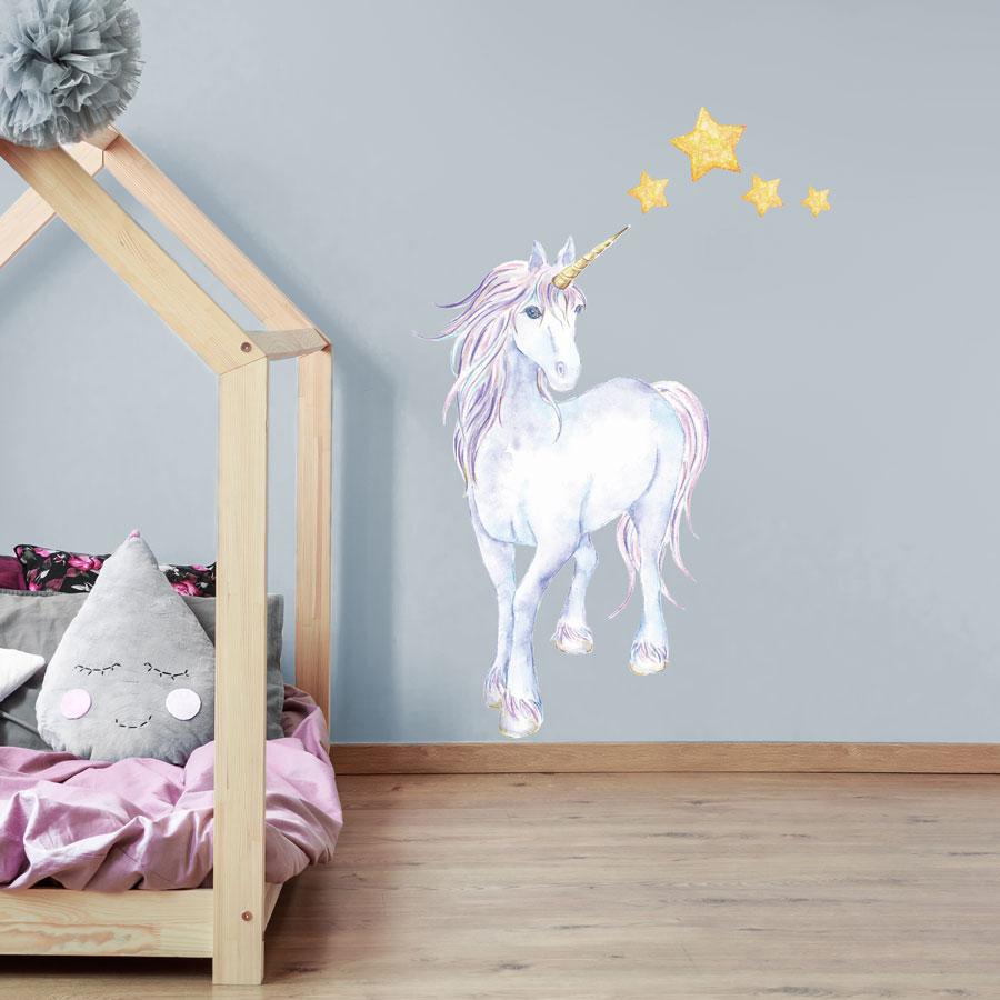 Mythical Unicorn And Stars Wall Sticker Unicorn Wall