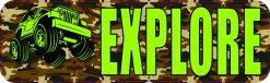 Camo Off-Road Explore Bumper Sticker