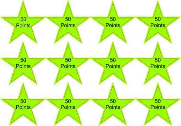 50 Points Green Star Stickers