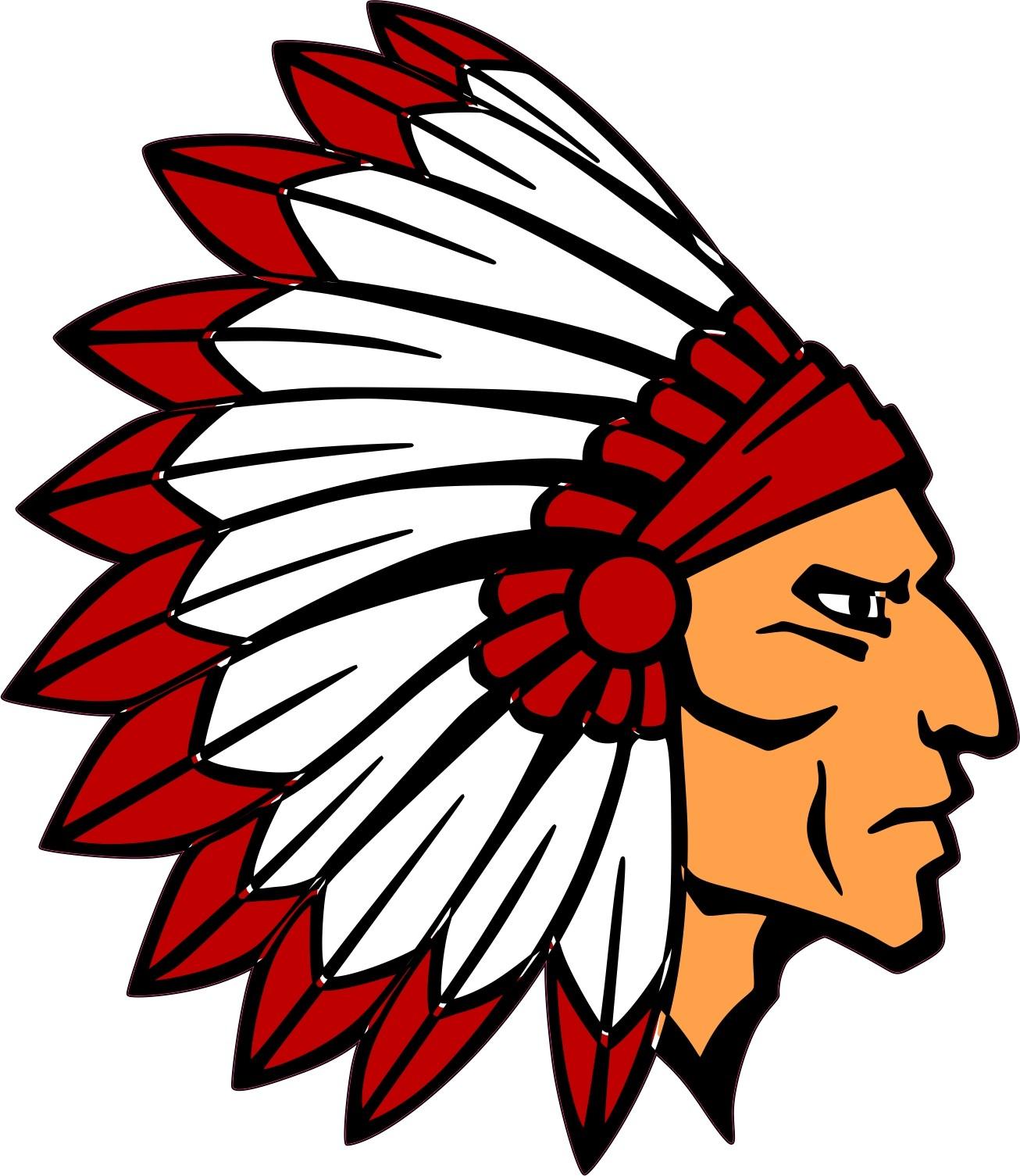 4.5in x 5in Die Cut Red Indian Head Mascot Bumper Sticker ...