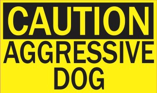 caution aggressive dog