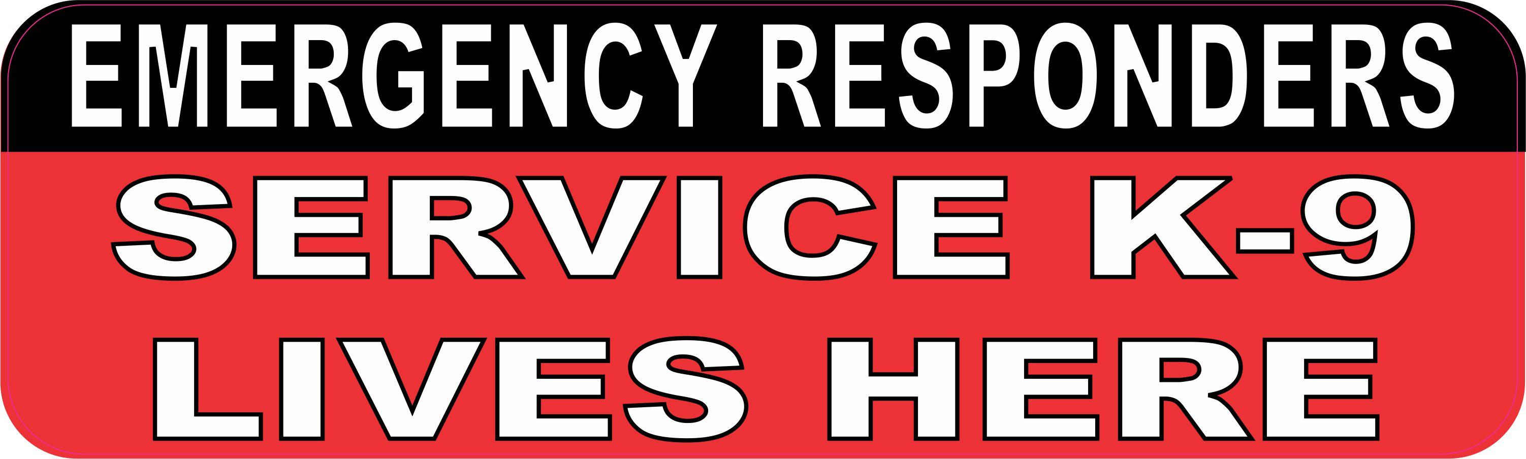 10in x 3in emergency responders service k 9 lives here vinyl sticker window decal