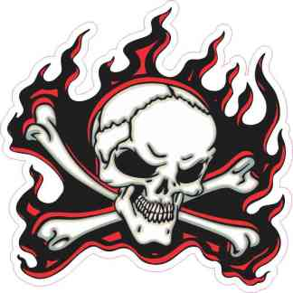 red flame skull bumper sticker