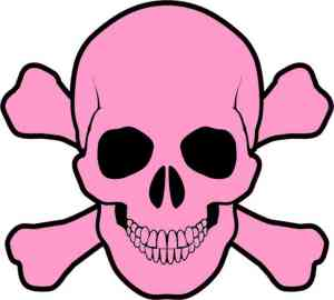 light pink skull and cross bones bumper sticker