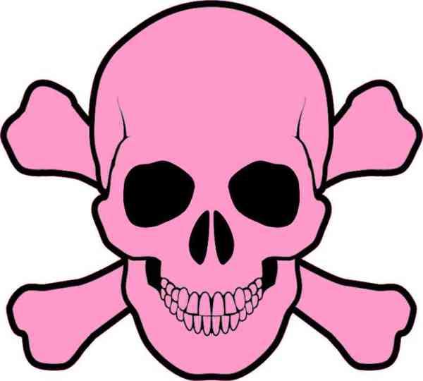 light pink skull and cross bones bumper sticker