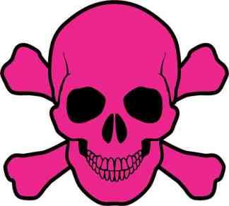 pink skull and cross bones bumper sticker