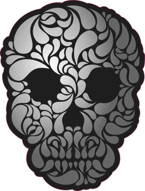 swirl pattern skull bumper sticker