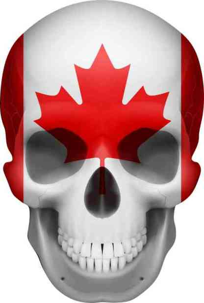 Canadian Flag skull bumper sticker