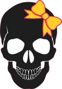 black with yellow bow skull bumper sticker