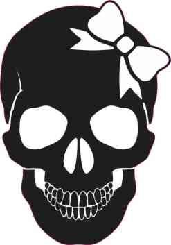 black skull with white bow bumper sticker