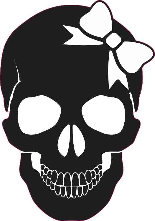 black skull with white bow bumper sticker