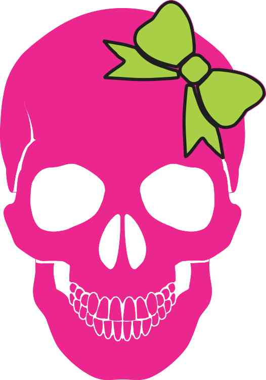 Pink with Green Bow Skull Bumper Sticker
