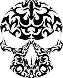 black and white skull bumper sticker