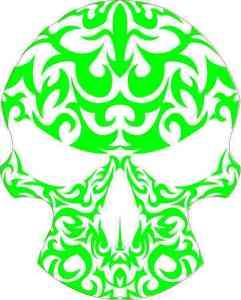 green and white tribal skull bumper sticker