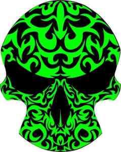 green tribal skull bumper sticker